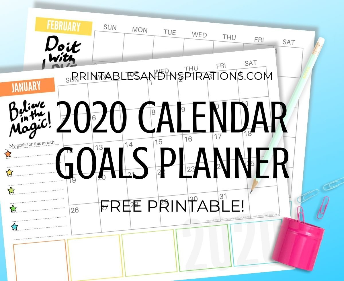 Free 2020 Monthly Goals Calendar Printable! - Printables And Free Printable Color Coded Calendar