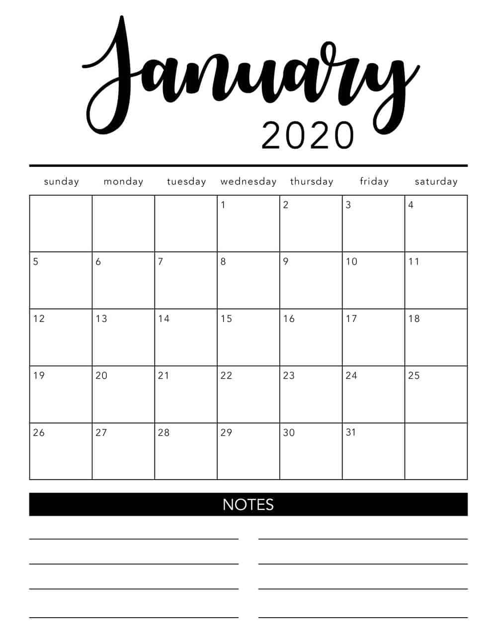 Free 2020 Printable Calendar Template (2 Colors!) - I Heart Free Printable Calendar Fill In