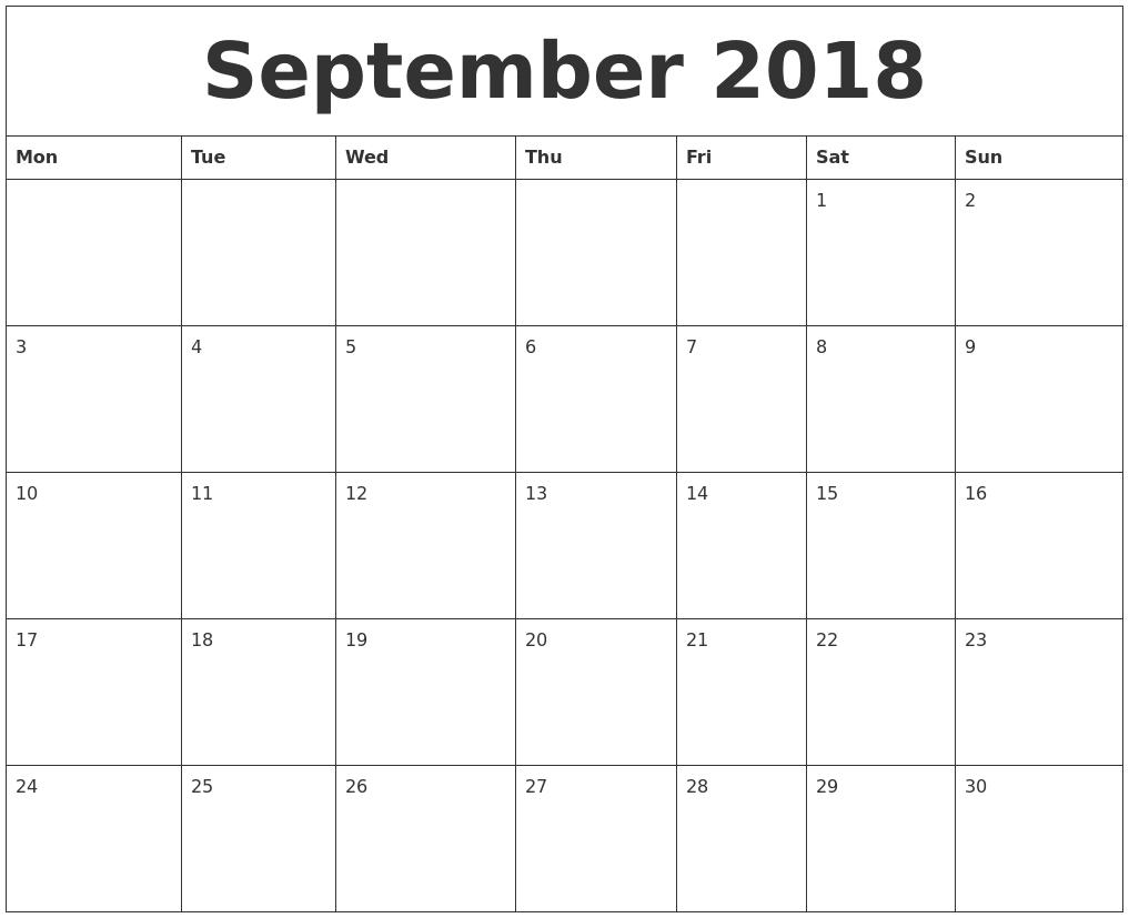 Free April 2018 Printable Calendar — September Calendar 2018 Monday Through Sunday Calendar Word
