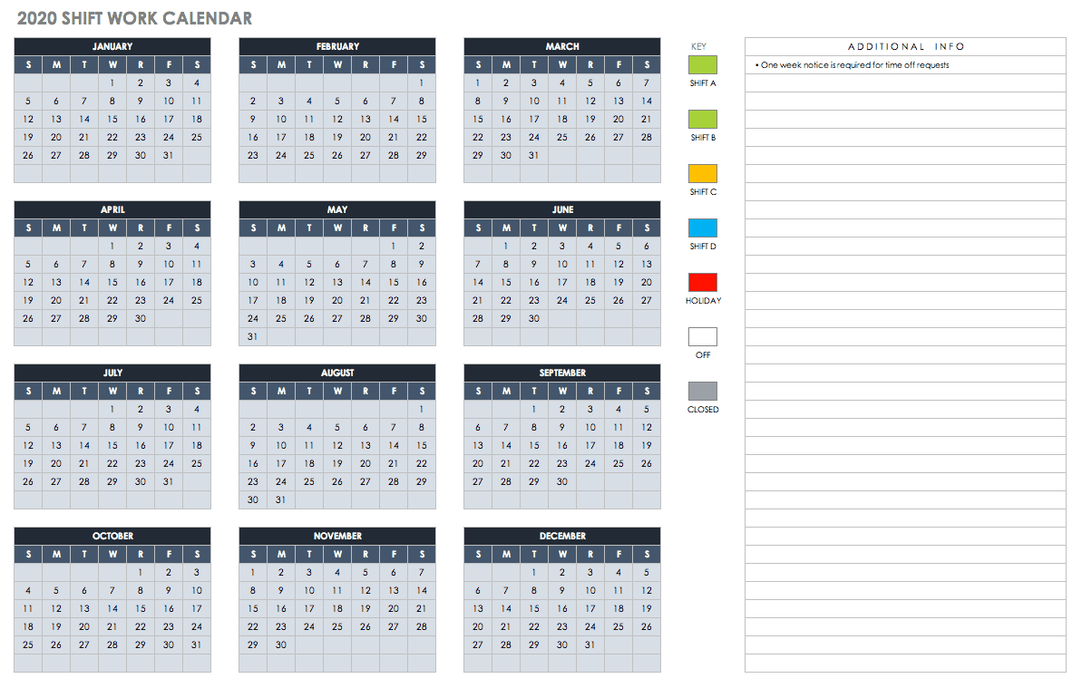 Free Blank Calendar Templates - Smartsheet Printable Hr Annual Calendar For Time Off 2019