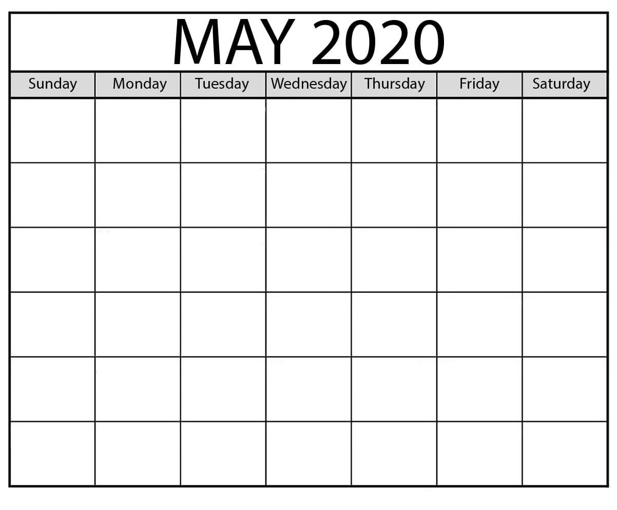 Free Blank May 2020 Calendar Template - Calendarsites - Medium Saturday Through Friday Calendar Template