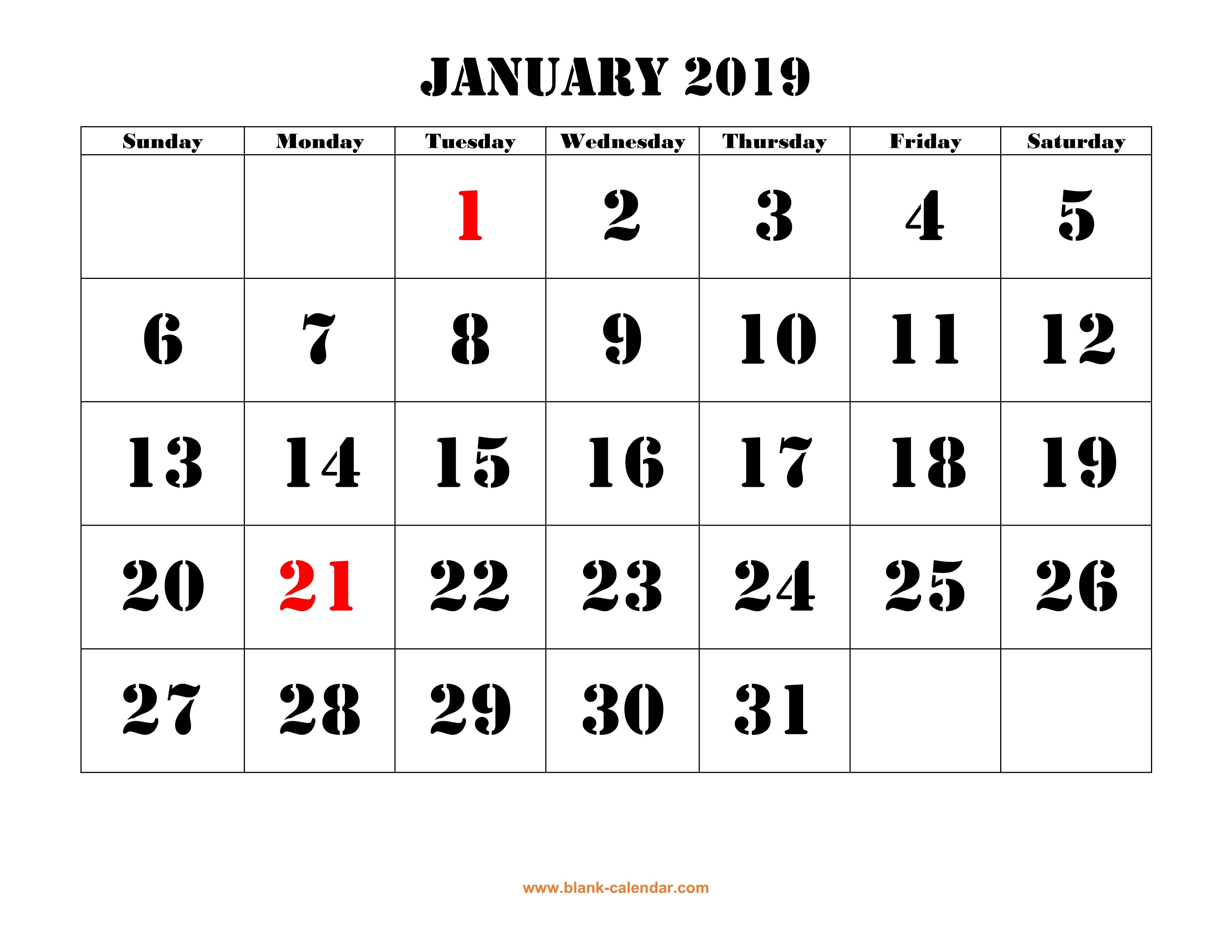 Free Download Printable Calendar 2019, Large Font Design Large Printable Numbers For Calendar