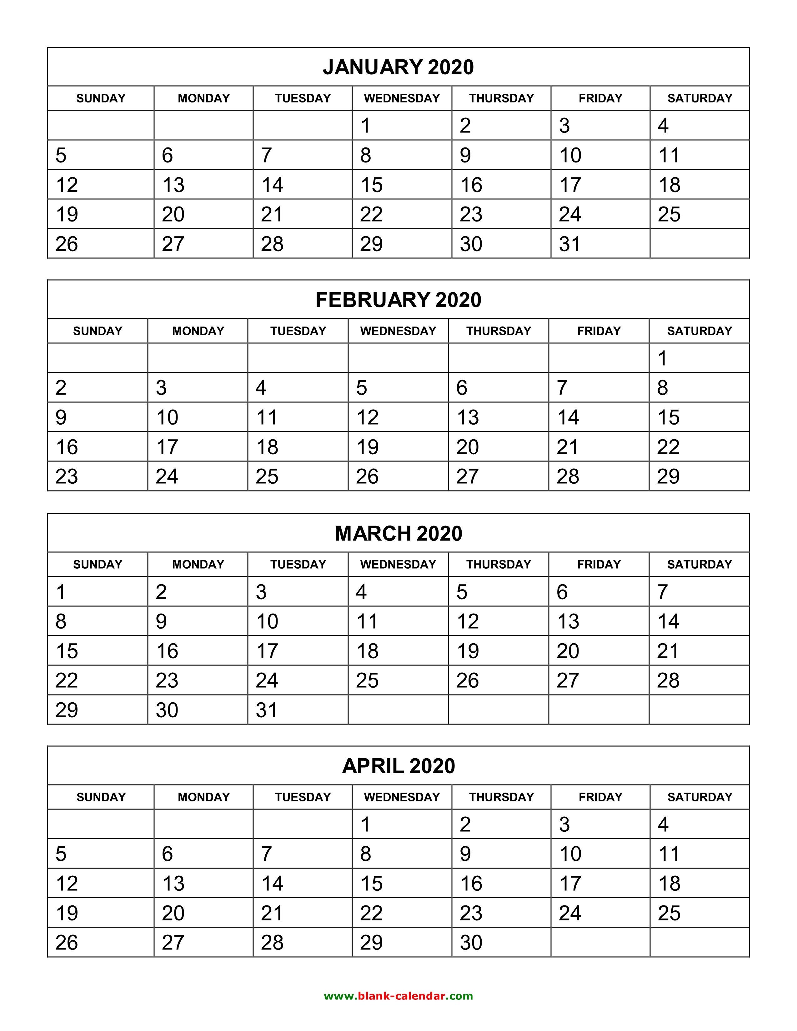Free Download Printable Calendar 2020, 4 Months Per Page, 3 4 Year Printable Calendar