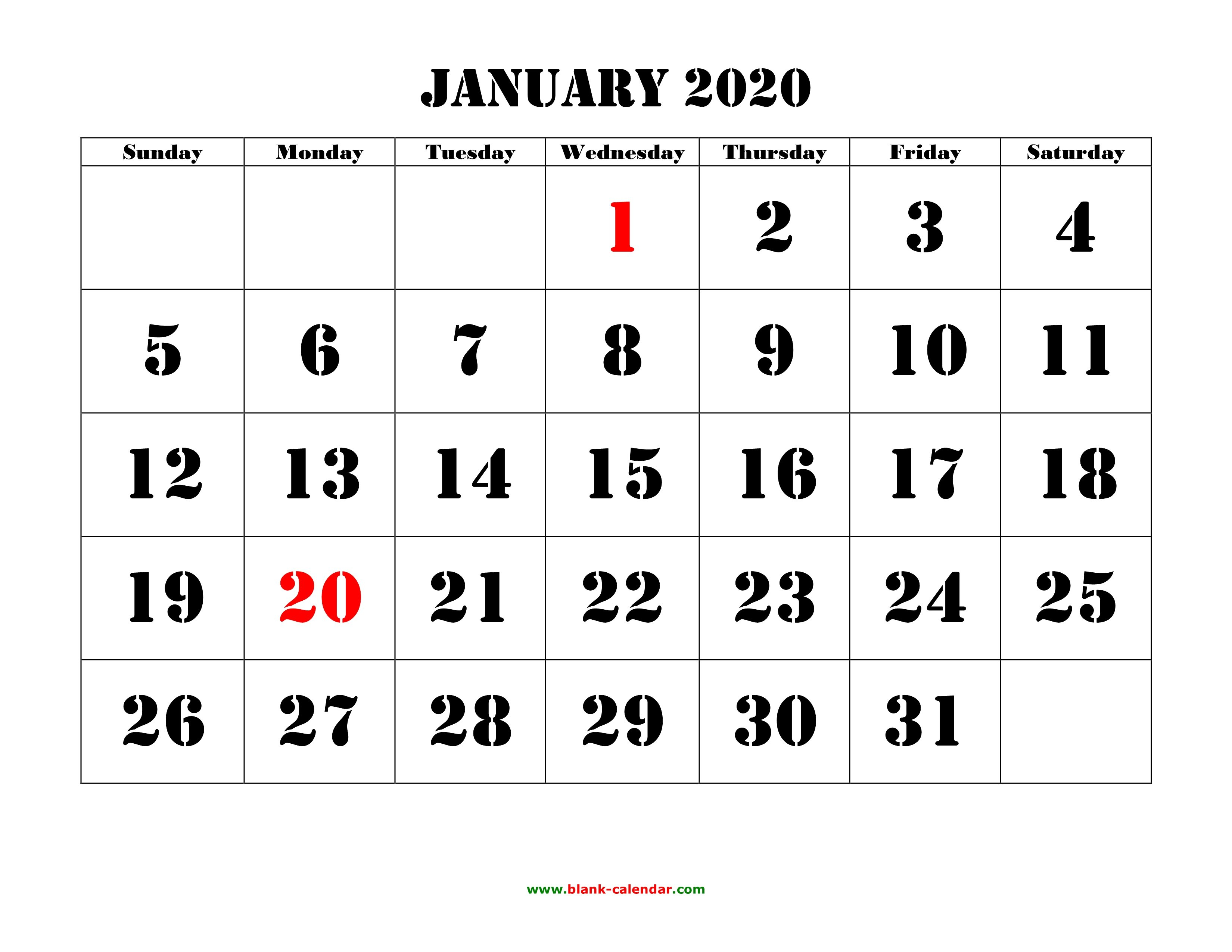 Free Download Printable Calendar 2020, Large Font Design Free Printable Calendar Large Blocks