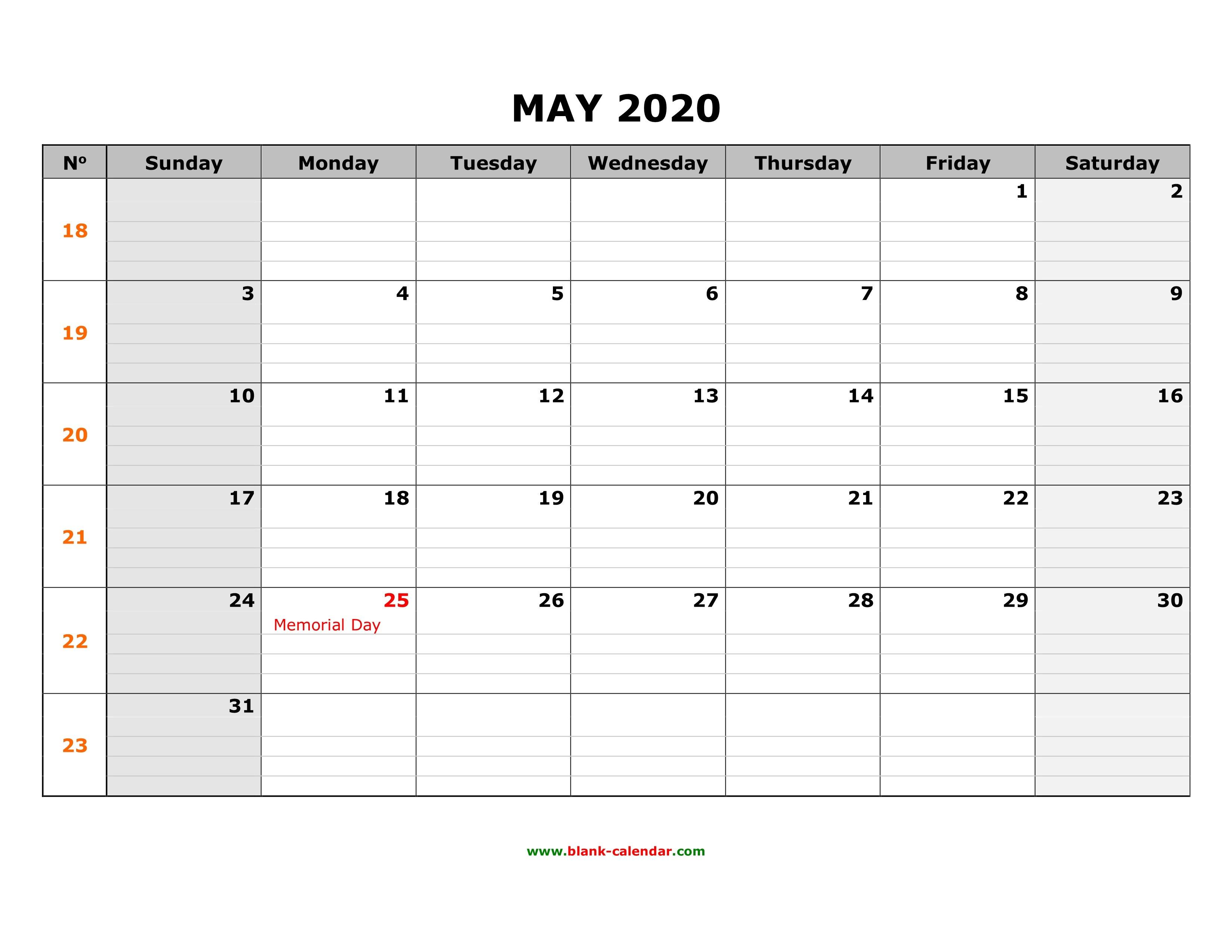 Free Download Printable May 2020 Calendar, Large Box Grid Free Printable Calendar Large Blocks