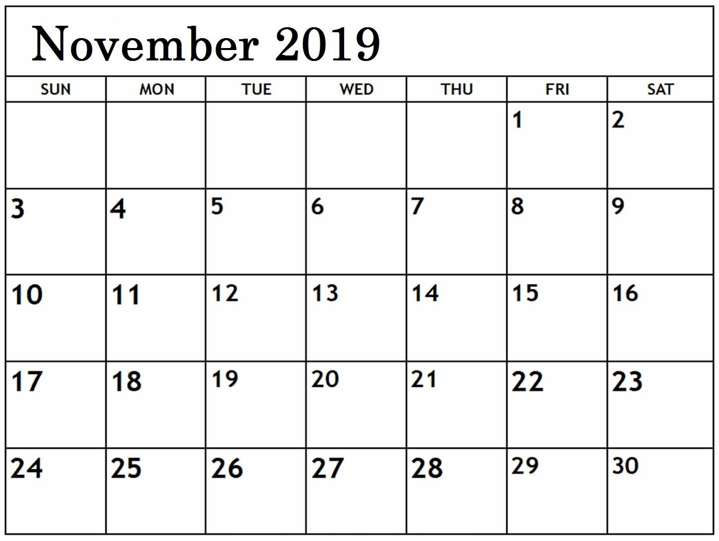 Free Editable November Calendar 2019 Blank Template I Need A Calendar I Can Edit And Print Out Free