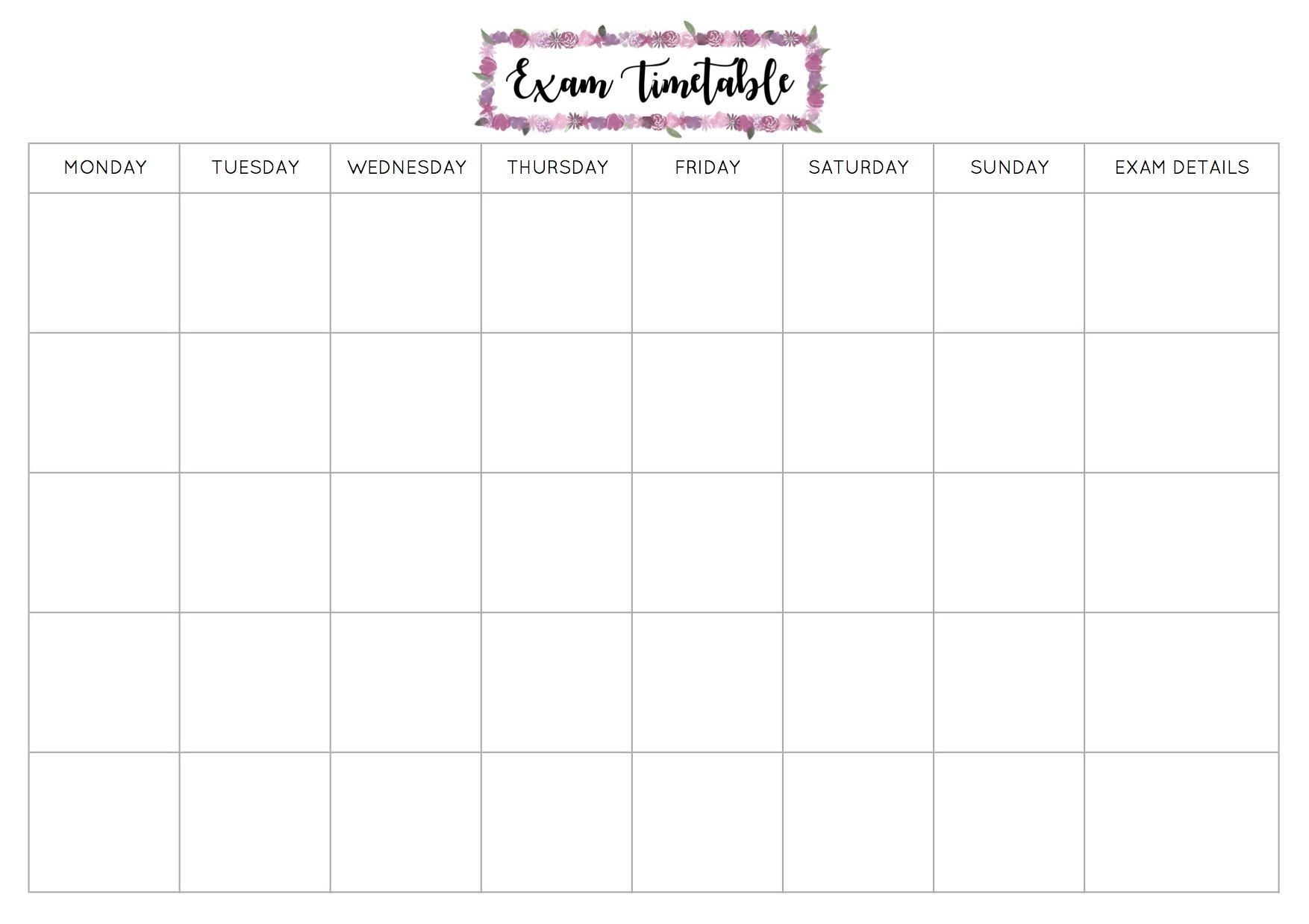 Free Exam Timetable Printable – Emily Studies Blank Monday To Friday Timetable