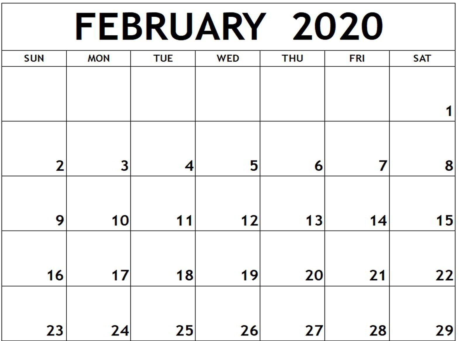 Free Fillable February Calendar 2020 Printable Editable With I Need A Calendar I Can Edit And Print Out Free
