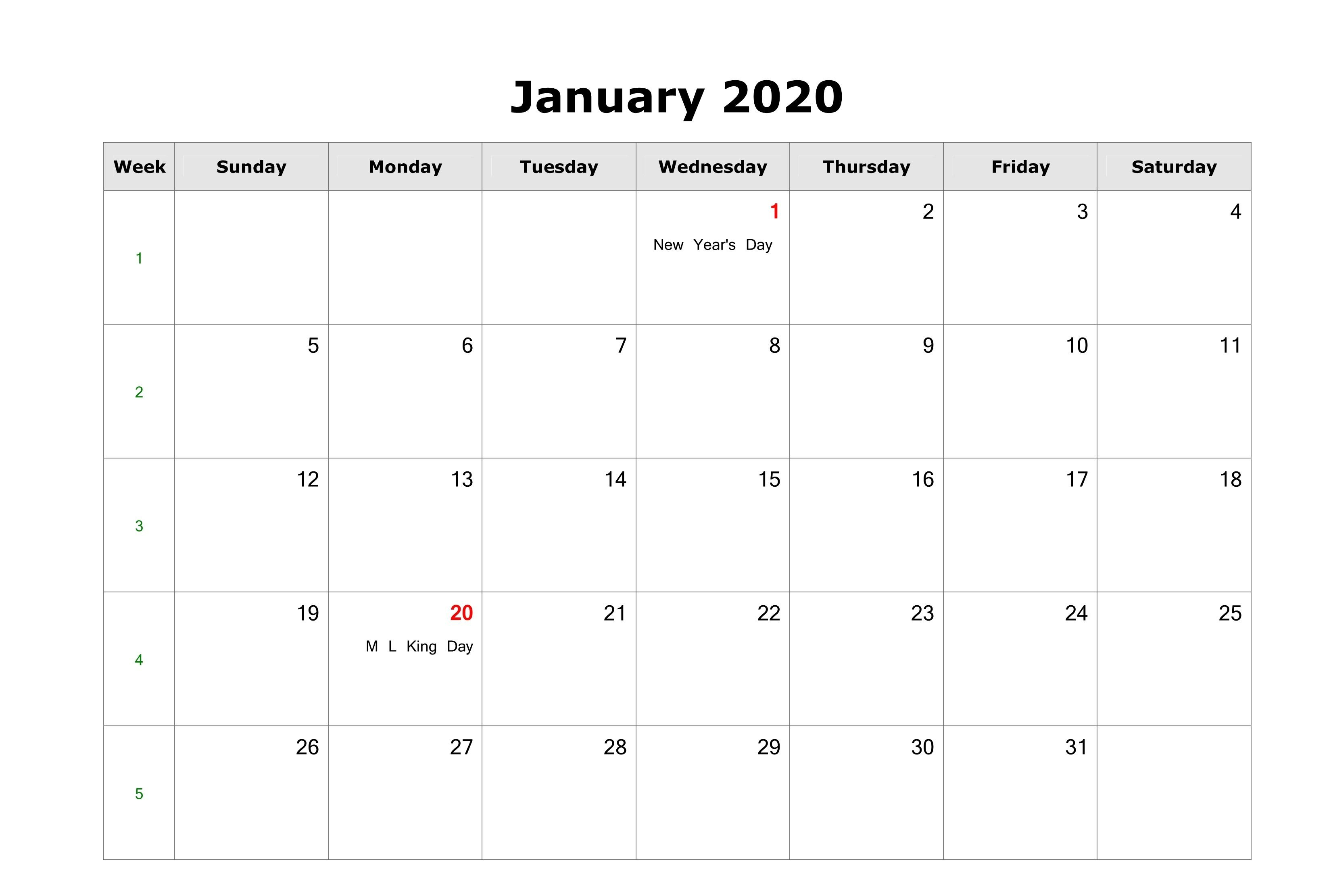 Free Fillable January Calendar 2020 Printable Editable With Blank Calendar I Can Edit And Print