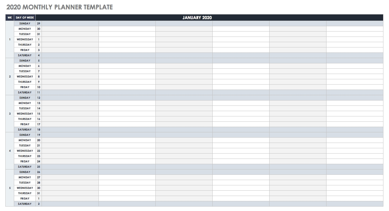 Free Google Calendar Templates | Smartsheet-Monthly Calendar Calendar Sign Up Sheet Template