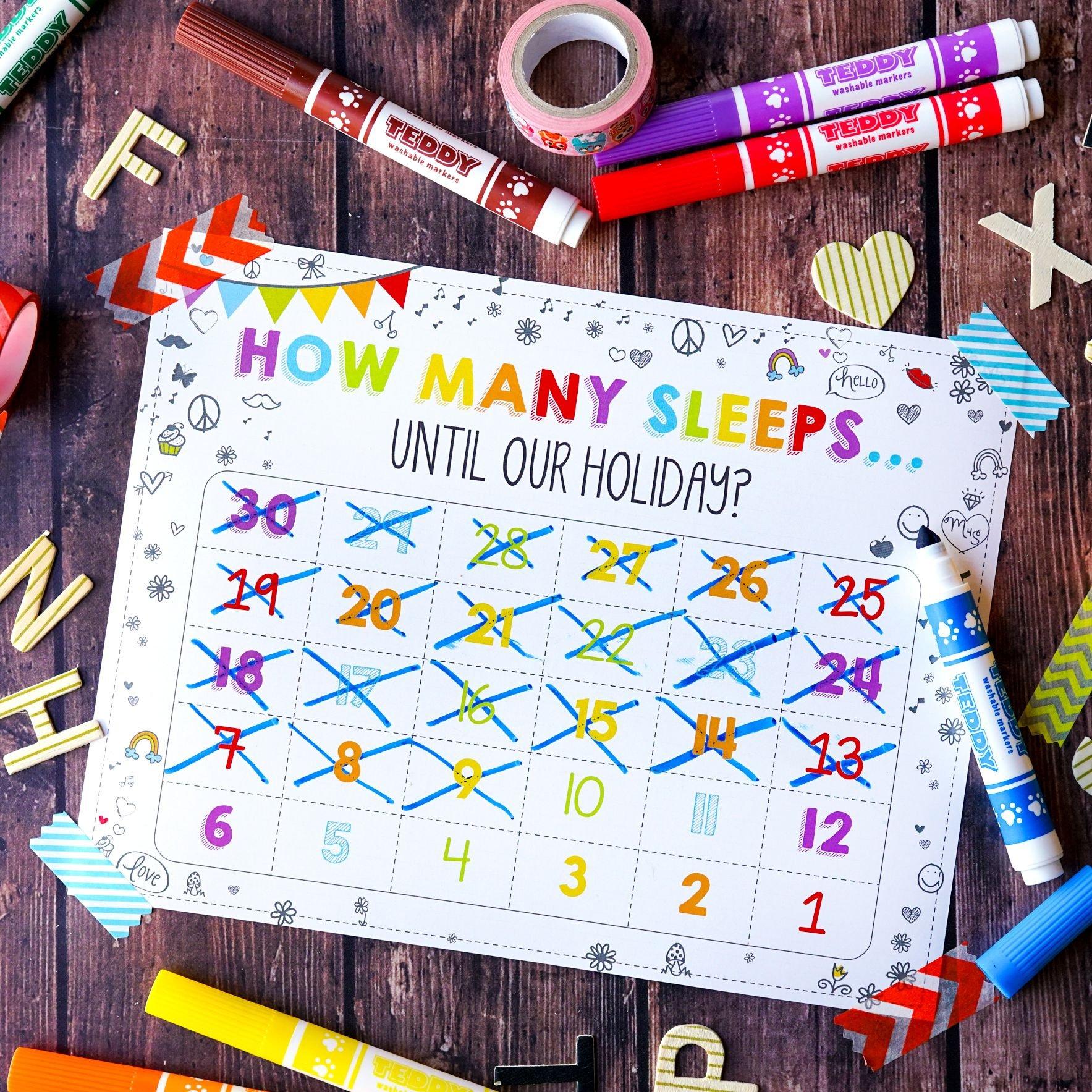 Free 'how Many Sleeps' Countdown Calendar | Countdown Five Year Countdown Calendar