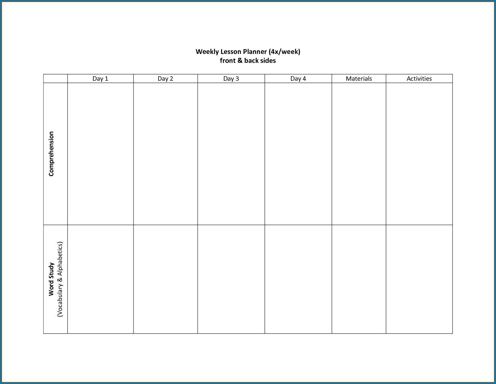 Free Printable 2 Week Calendar Template | Free Calendar 4 Week Planner Template Word