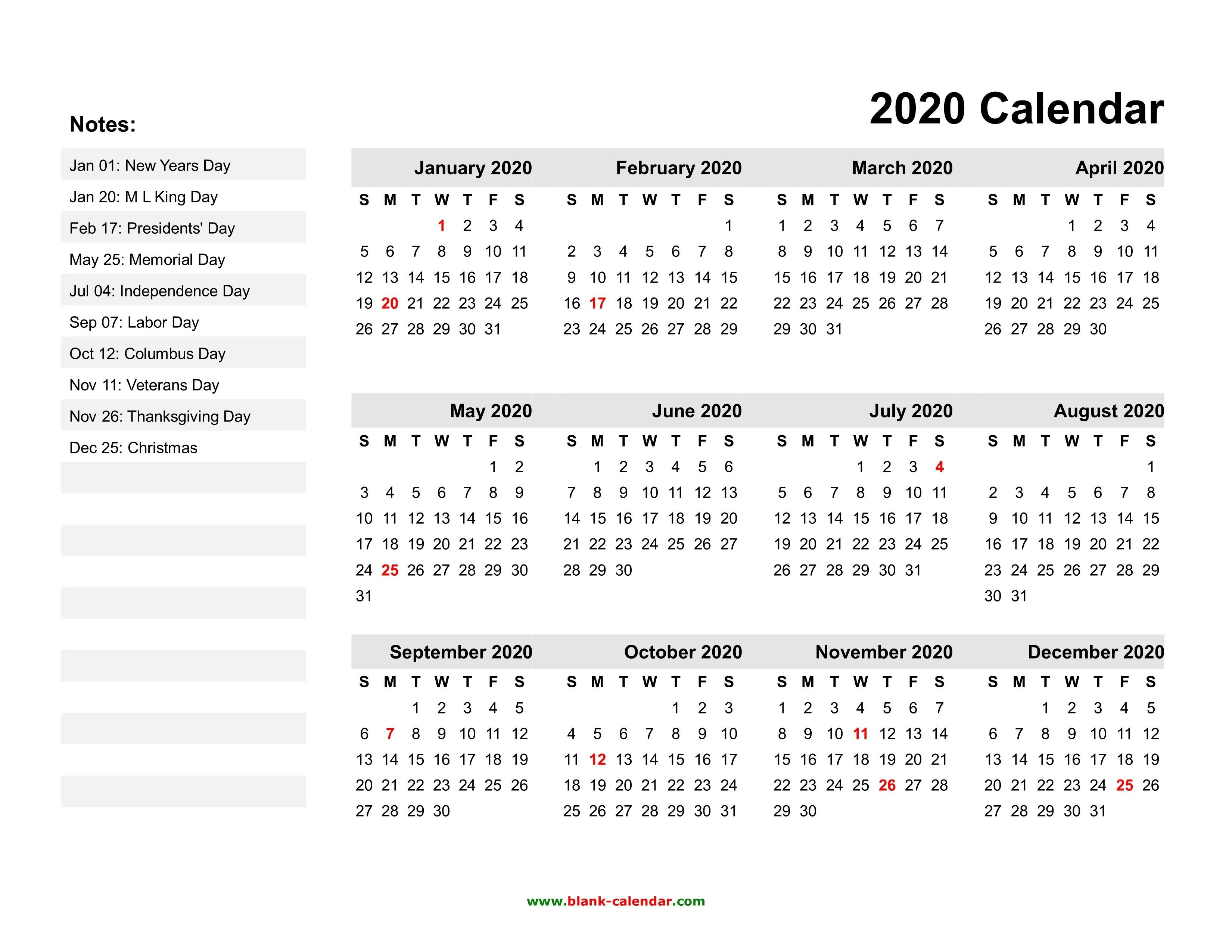 Free Printable 2020 Calendars With Holidays | Printable Printable Calenders With Date And Time On 8 1/2 X 11 Paper