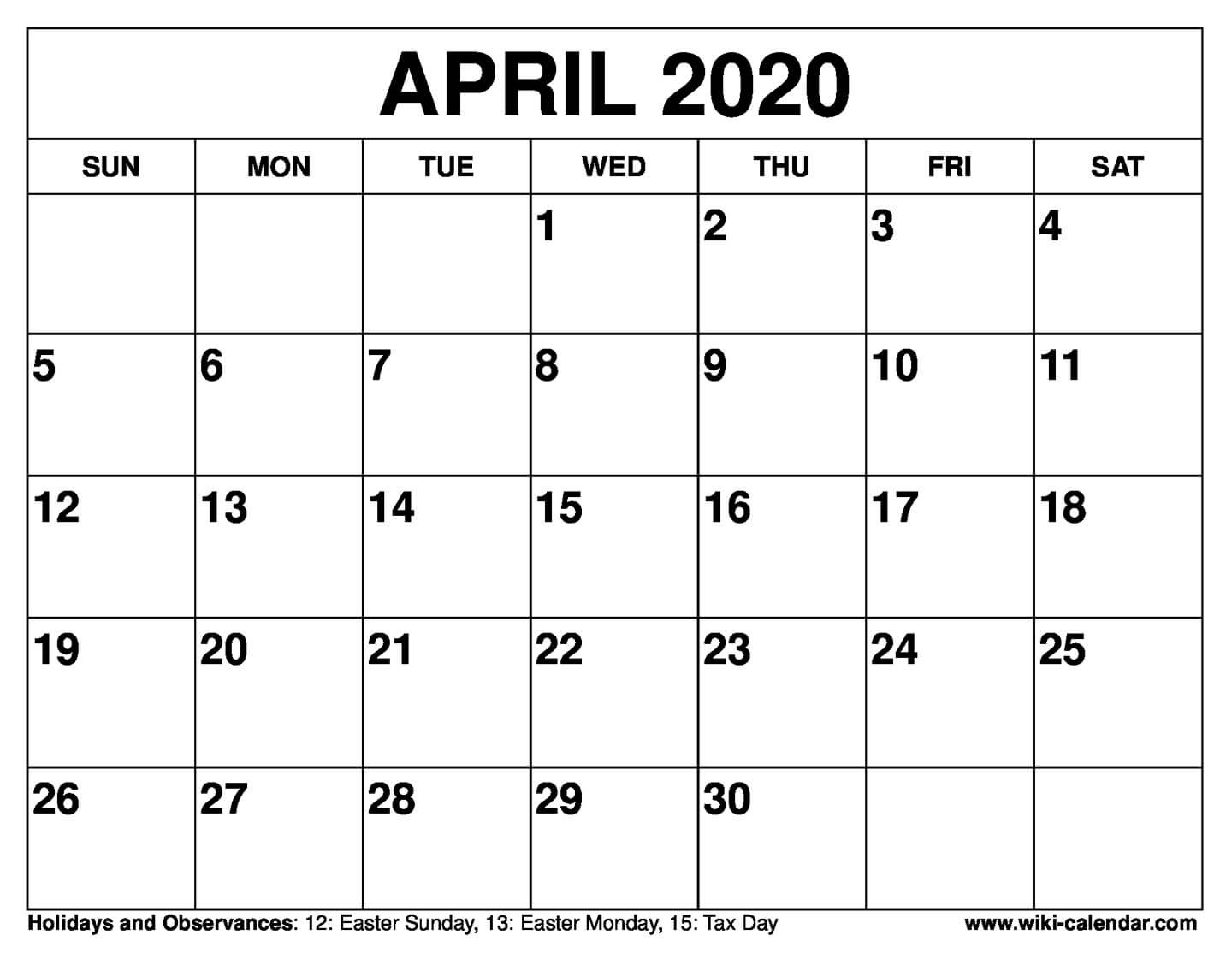 Free Printable April 2020 Calendars Printable Calenders With Date And Time On 8 1/2 X 11 Paper