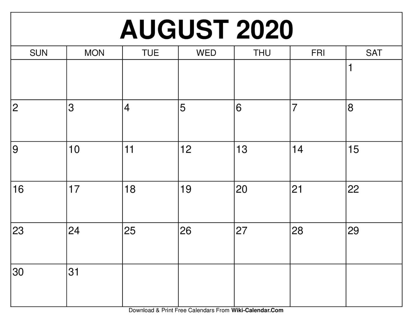 Free Printable August 2020 Calendars Free No Download Printable Calendars