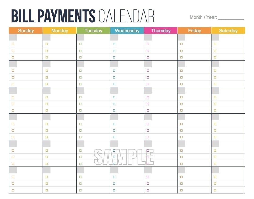Free Printable Bill Budget Calendar - Calendar Inspiration Free Printable Monthly Budget Calendar
