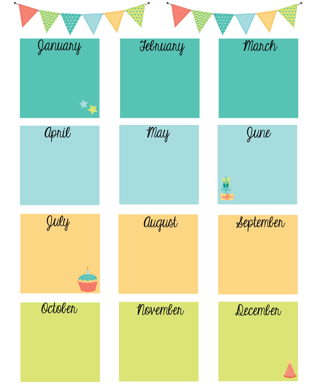 Free Printable Birthday Calendar (Con Imágenes) | Calendario Free Birthday Calendar For The Workplace
