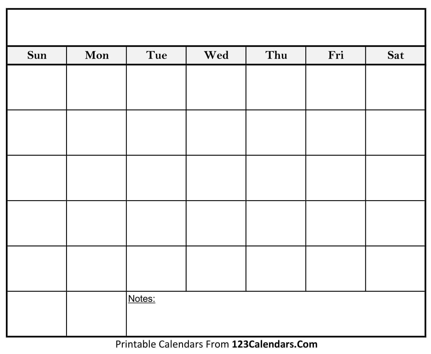 Free Printable Blank Calendar | 123Calendars Blank Calendar To Fill In