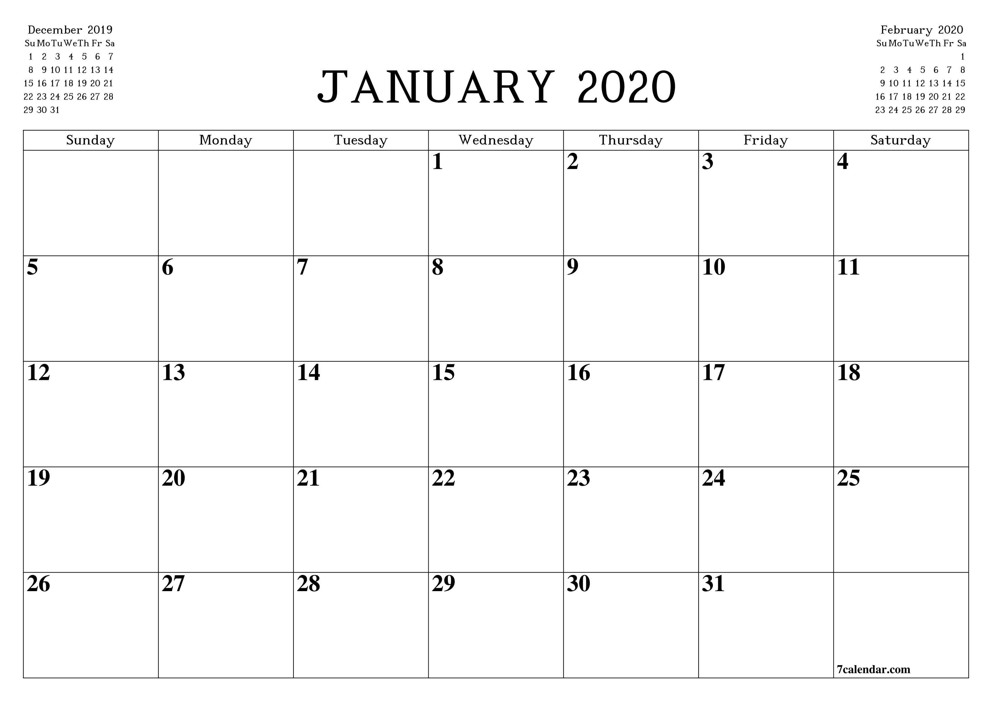 Free Printable Blank Monthly Calendar And Planner For Free 8 1/2 By 11 Blank Calendar