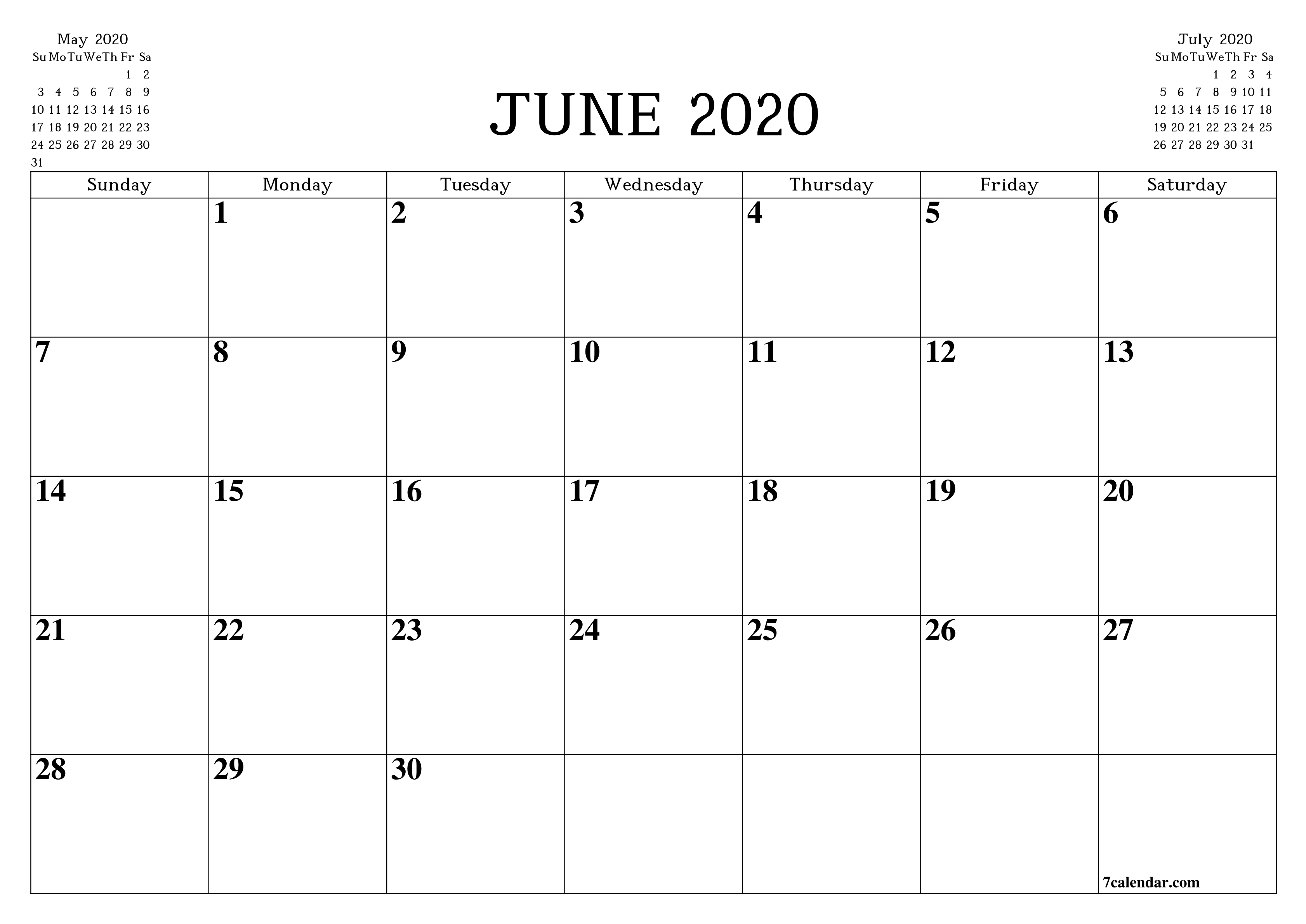 Free Printable Blank Monthly Calendar And Planner For June Fill In Monthly Calendar Printable