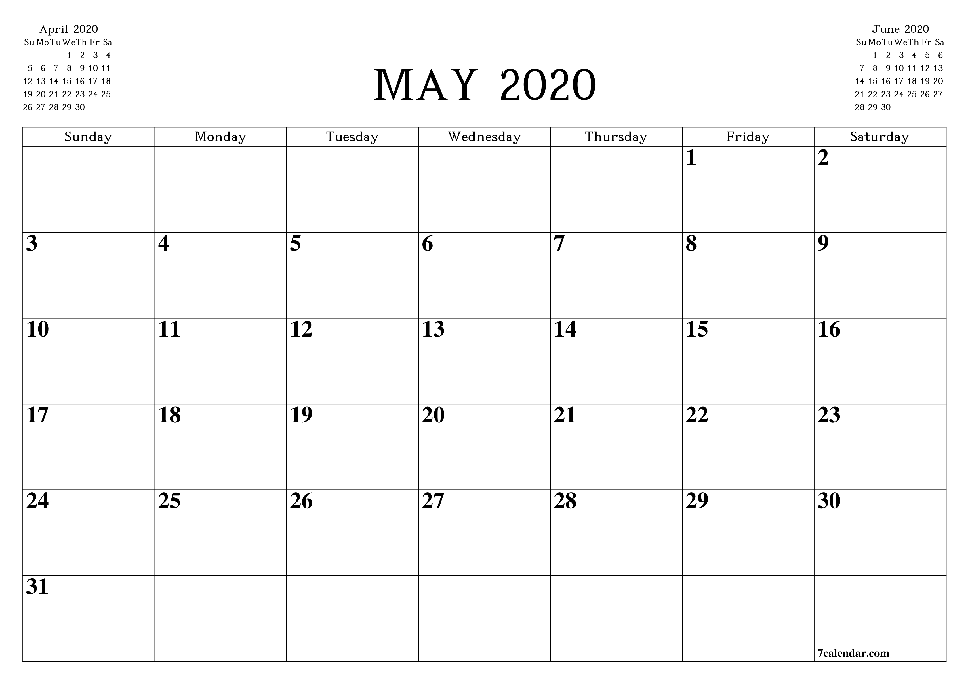 Free Printable Blank Monthly Calendar And Planner For May 8 By 11 Size Calendar Template