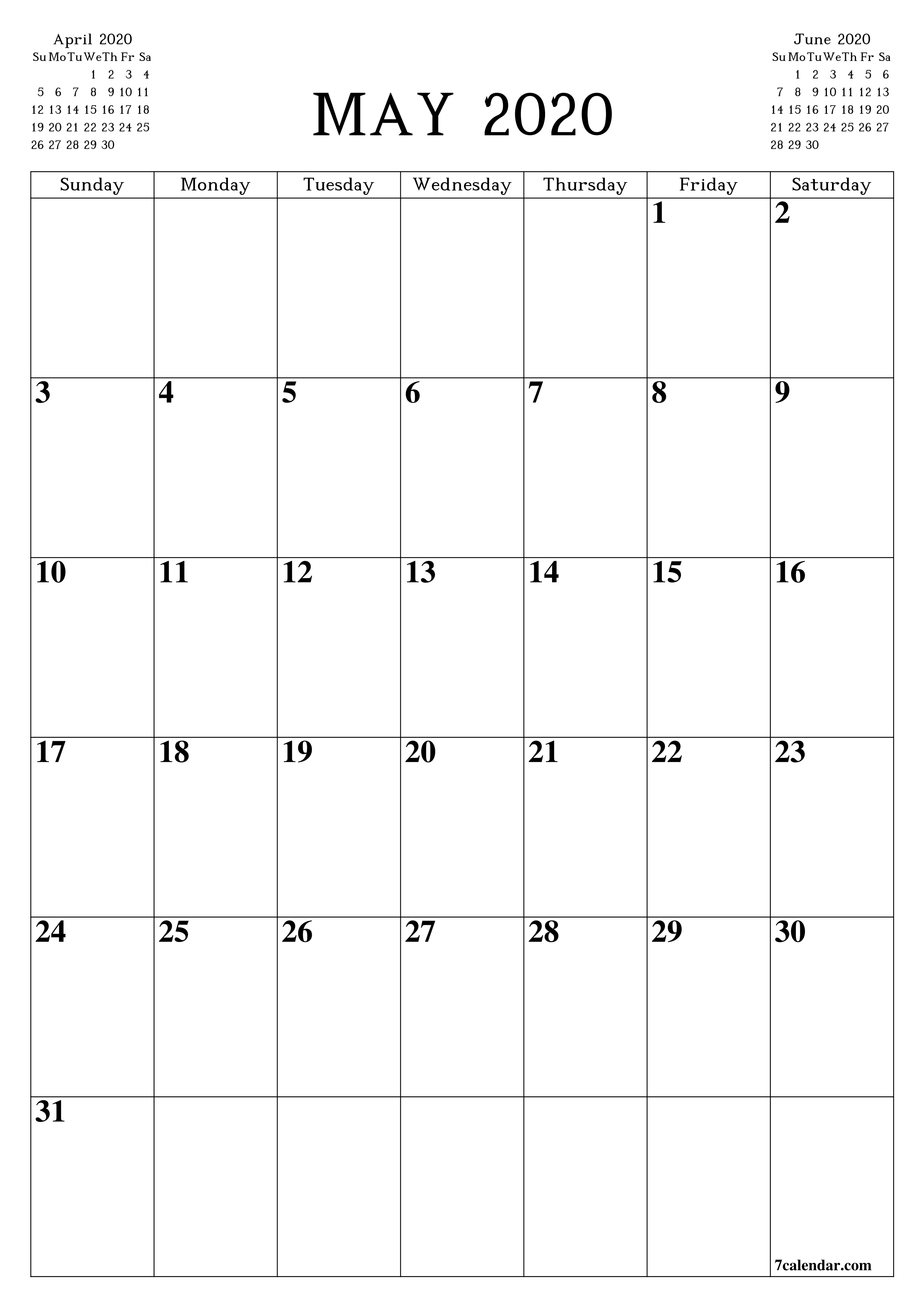 Free Printable Blank Monthly Calendar And Planner For May How Can I Print Calendar To Fill In