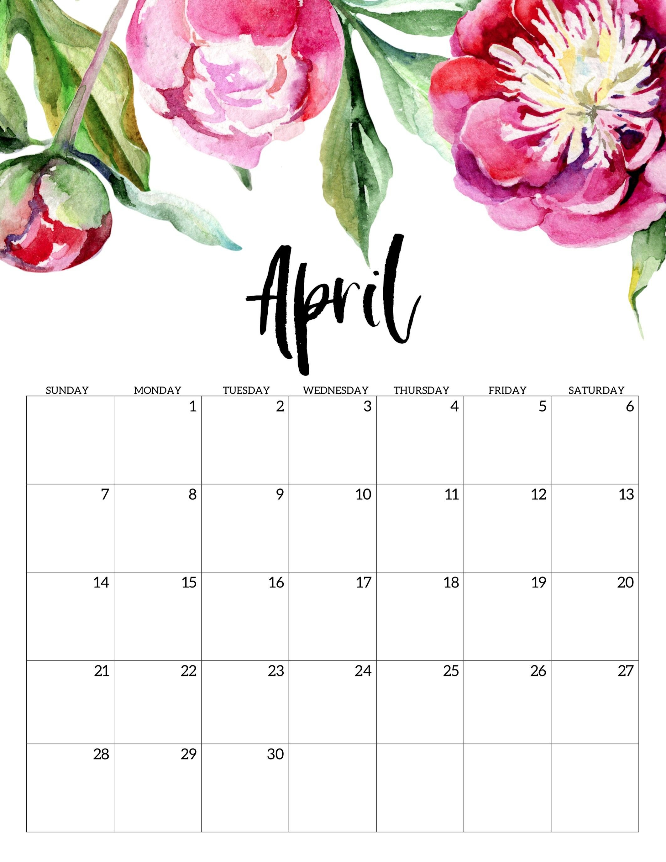 Free Printable Calendar 2019 - Floral | Печатные Календари Free No Download Printable Calendars