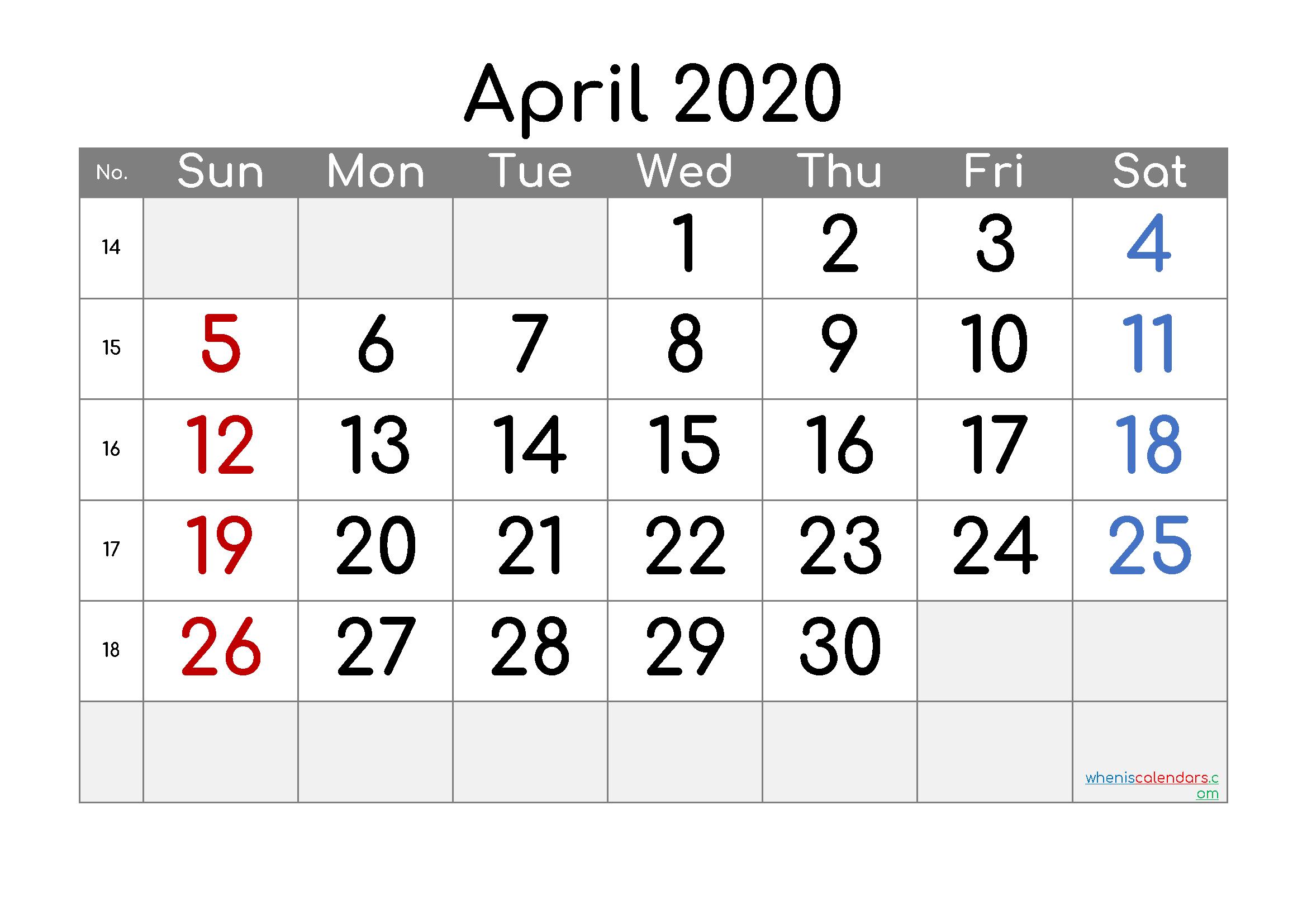 Free Printable Calendar 2020 April - Free Printable Monthly Free Printable Calendars 8 Week