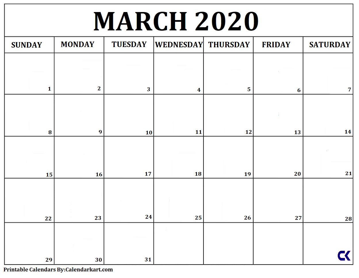Free Printable Calendar Templates 2020 » Calendarkart Free Printable Calendar Large Blocks