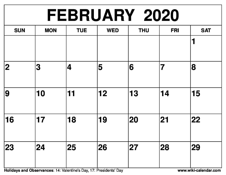 Free Printable February 2020 Calendar-8 1/2 X 11 Printable Free 8 1/2 By 11 Blank Calendar