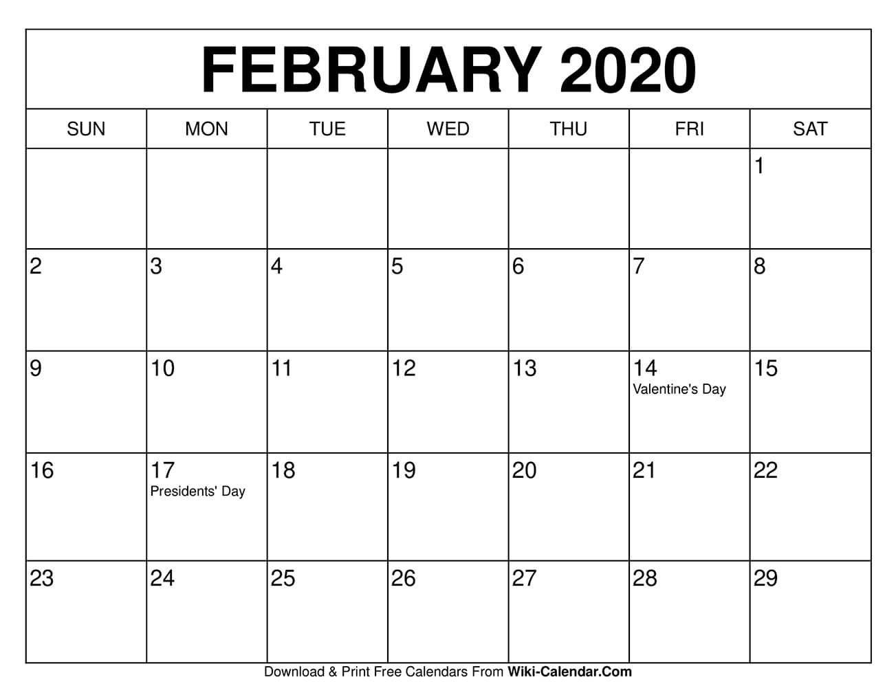 Free Printable February 2020 Calendars Printable Calenders With Date And Time On 8 1/2 X 11 Paper