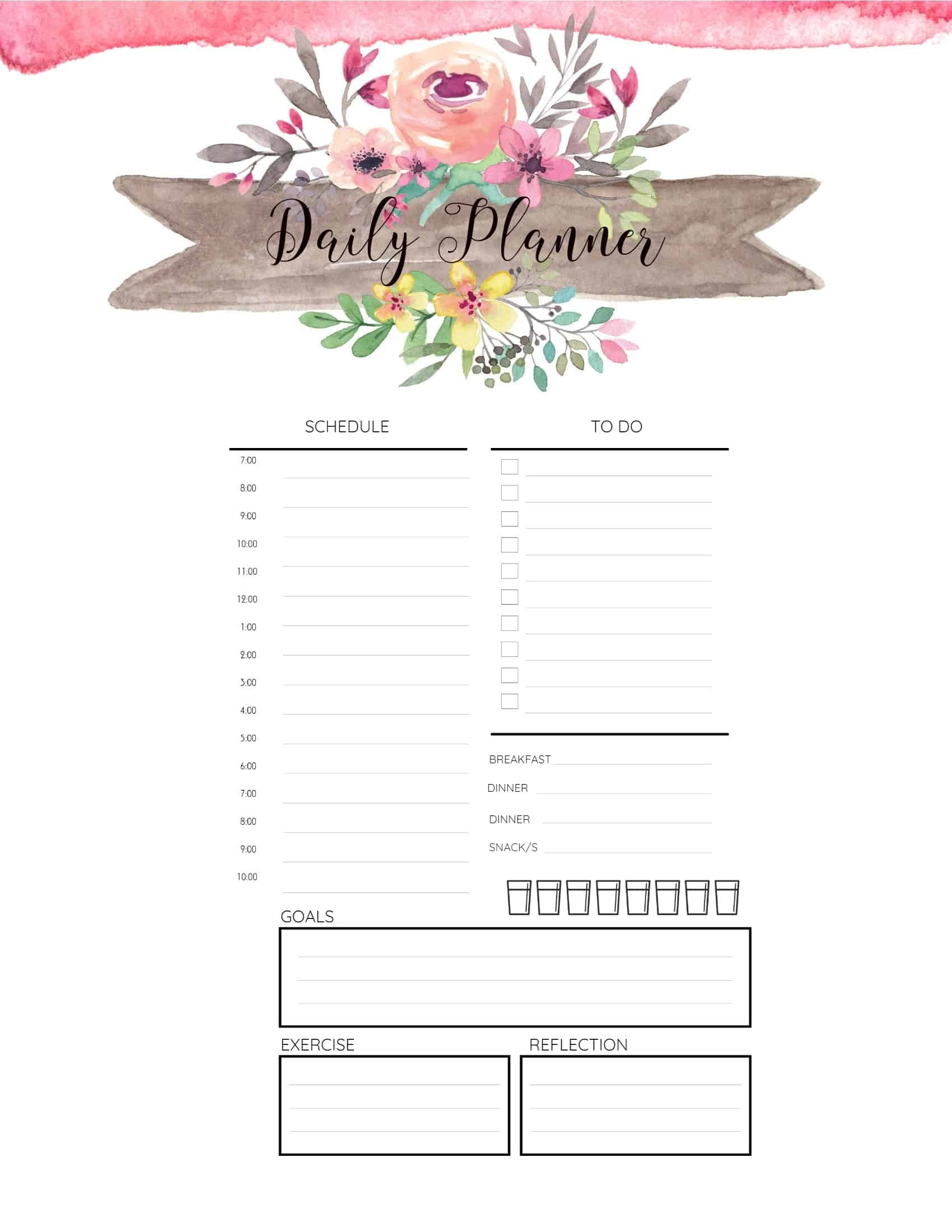 Free Printable Hourly Planner - Daily, Weekly Or Monthly Daily Hourly Schedule Print Out
