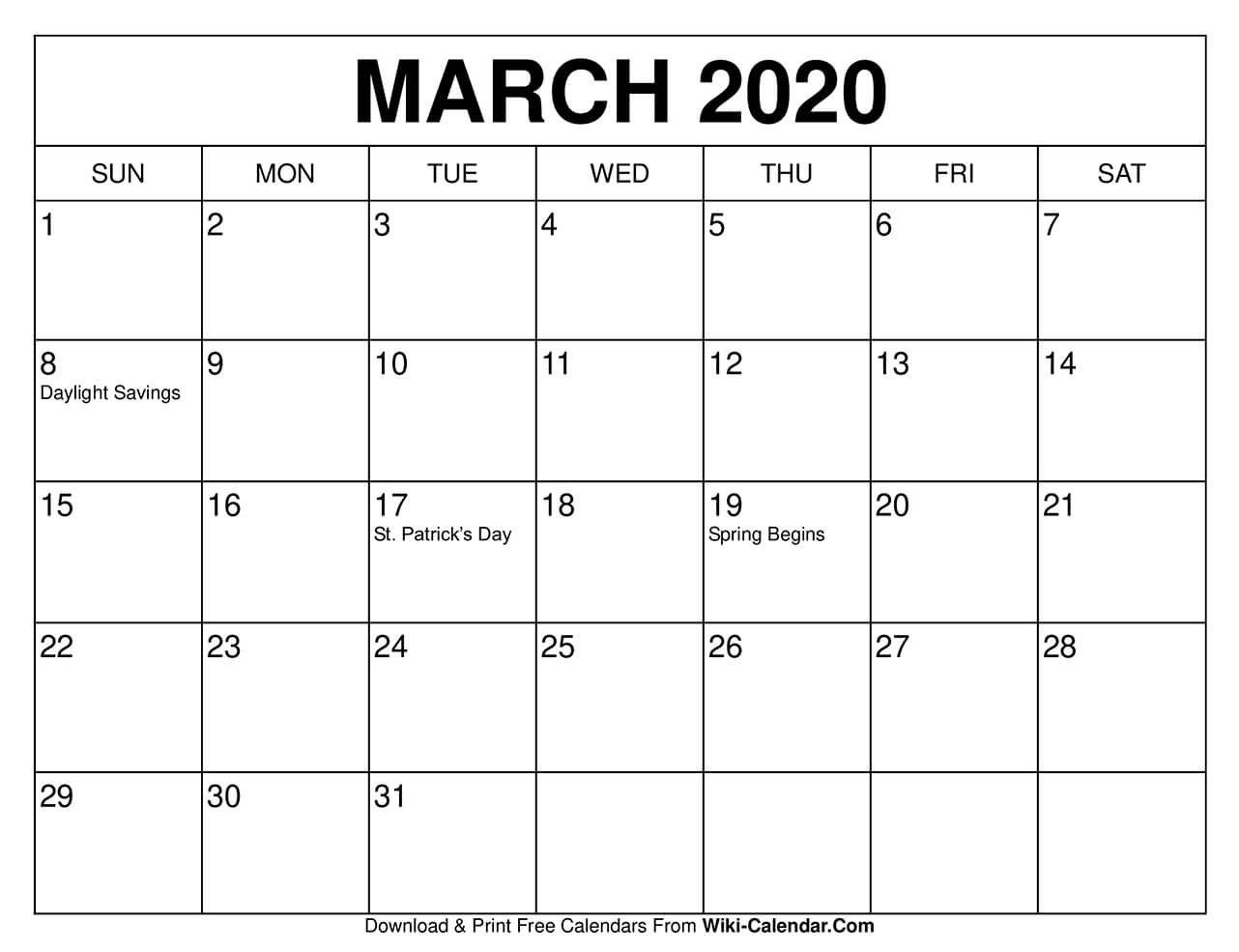 Free Printable March 2020 Calendars 8X11 Printable Monthly Calendar