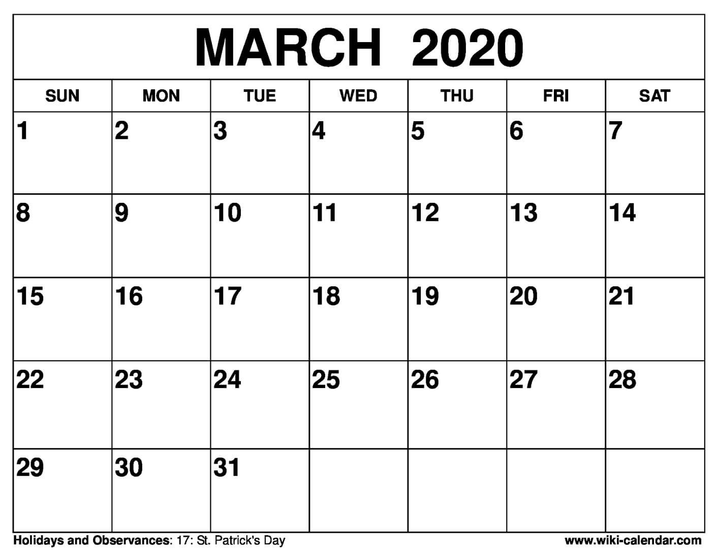 Free Printable March 2020 Calendars Printable Calenders With Date And Time On 8 1/2 X 11 Paper