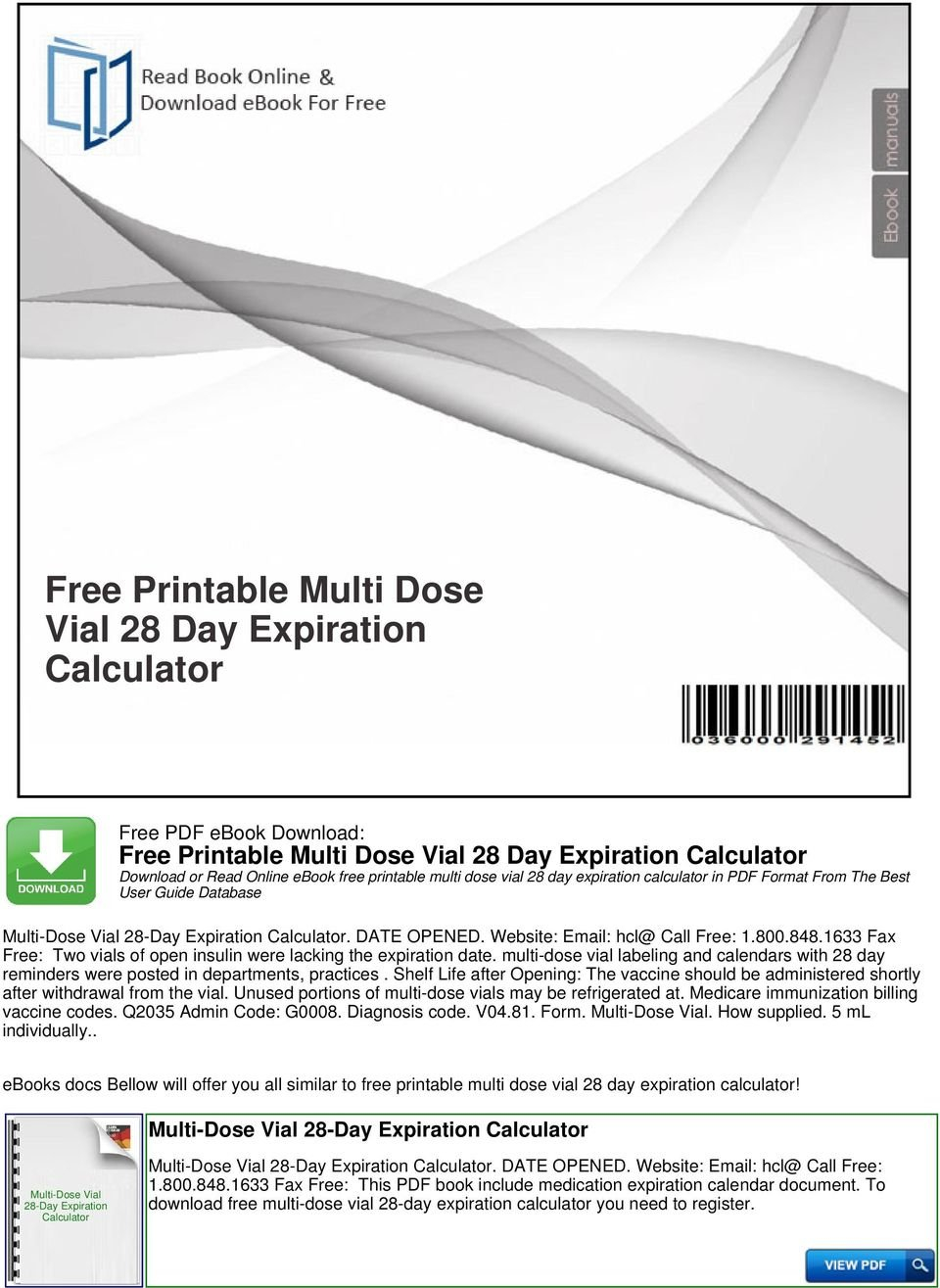 Free Printable Multi Dose Vial 28 Day Expiration Calculator 28 Day Medication Expiration Date Chart