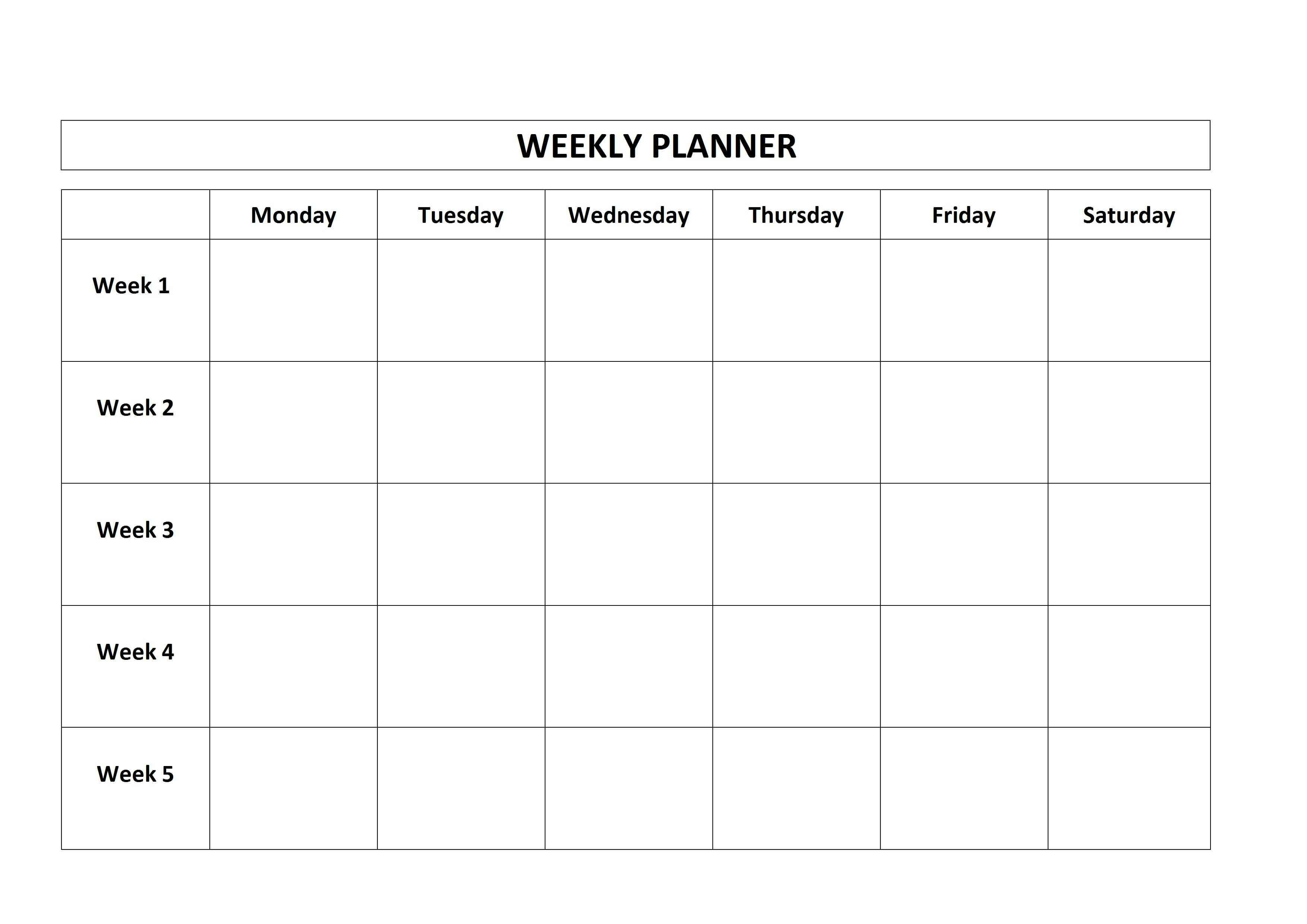 Free Printable Weekly Planner Monday Friday School Calendar Monday - Friday Schedule Blank Template