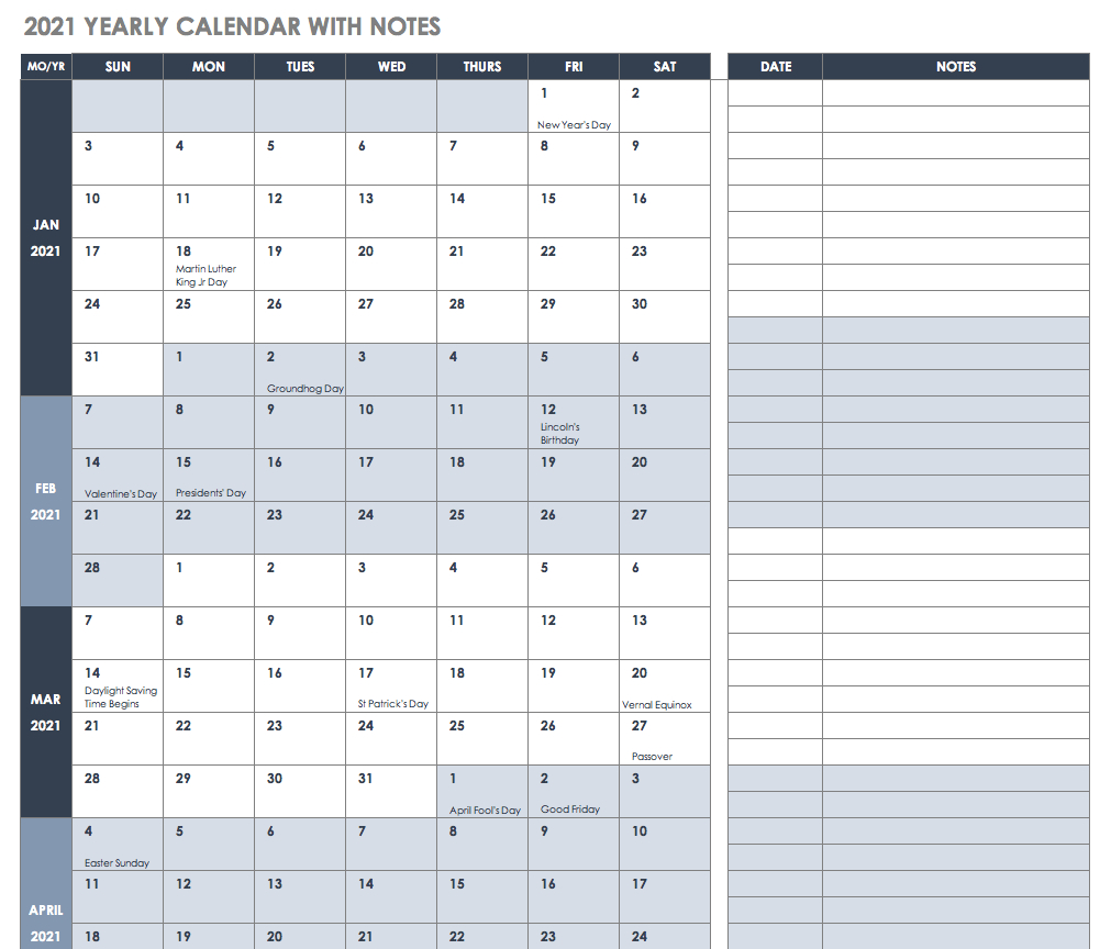 Free Project Calendar Templates | Smartsheet Excel 2020 Calendar Template Sprint