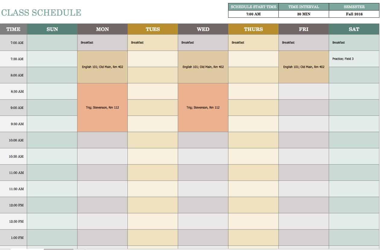 Free Weekly Schedule Templates For Excel - Smartsheet 8 Week Calendar Template Printable