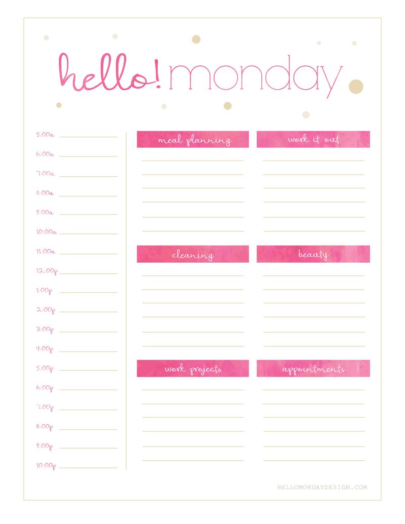 Freebie Friday // Calendar & Planner | Planner Printables Free Free Printable Undated Calendar Monday Thru Friday