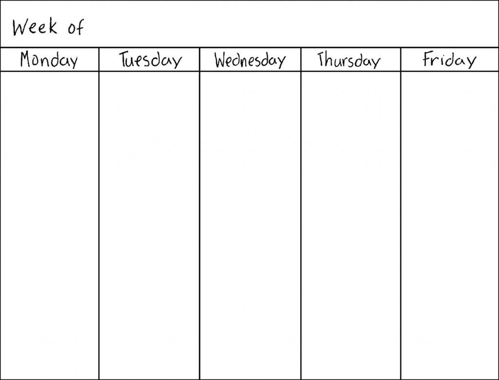 Get 5 Day Week Blank Calendar Printable | Weekly Calendar 5 Day Calendar Template