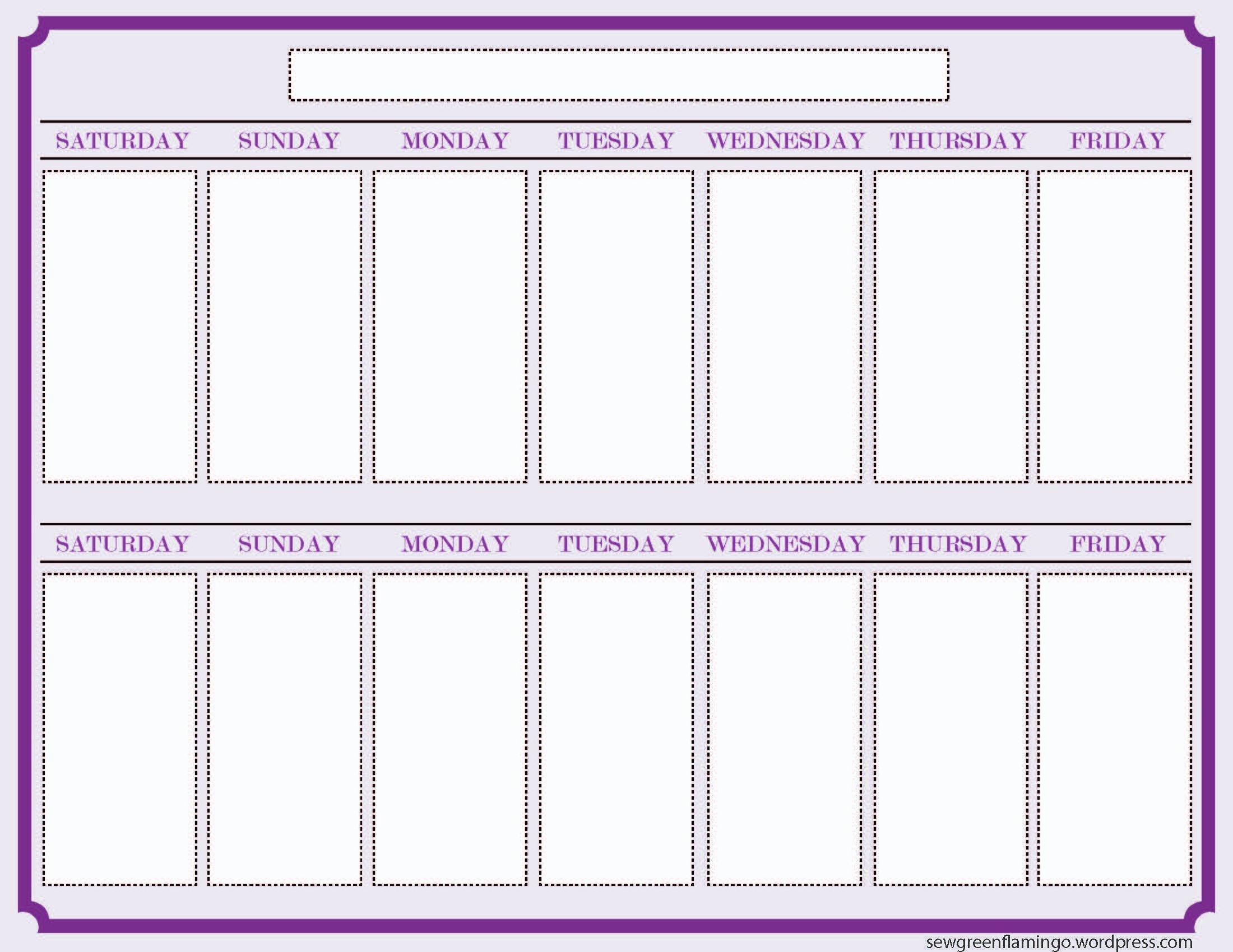 Getting Organized! 2-Week Planner | Blank Calendar Template 2 Week Calendar Sheets