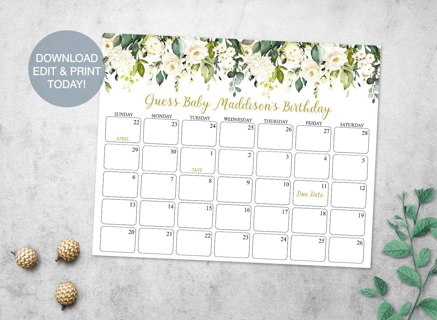 Greenery Baby Due Date Prediction Calendar Printable, White Calendar For Guessing Baby Due Date