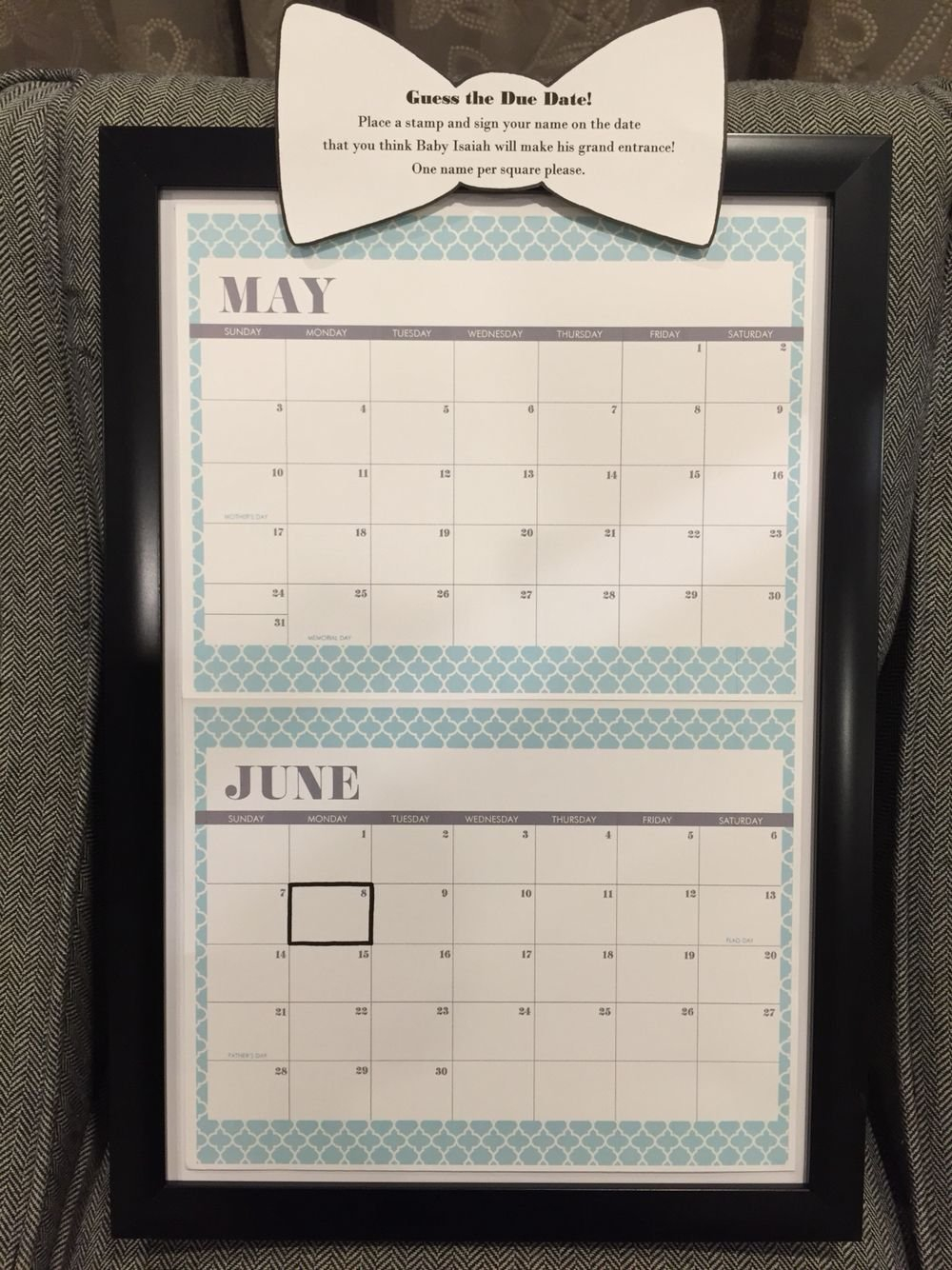 Guess The Due Date At Baby Shower. Guests Use Stamp To Guess Guess The Due Date Printable Calendar