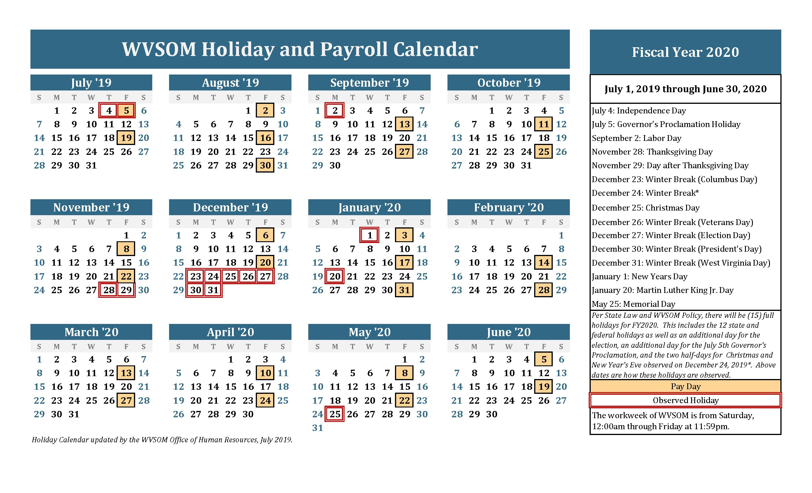 Human Resources - Holiday Calendar | West Virginia School Of Hr Calendar For The Year
