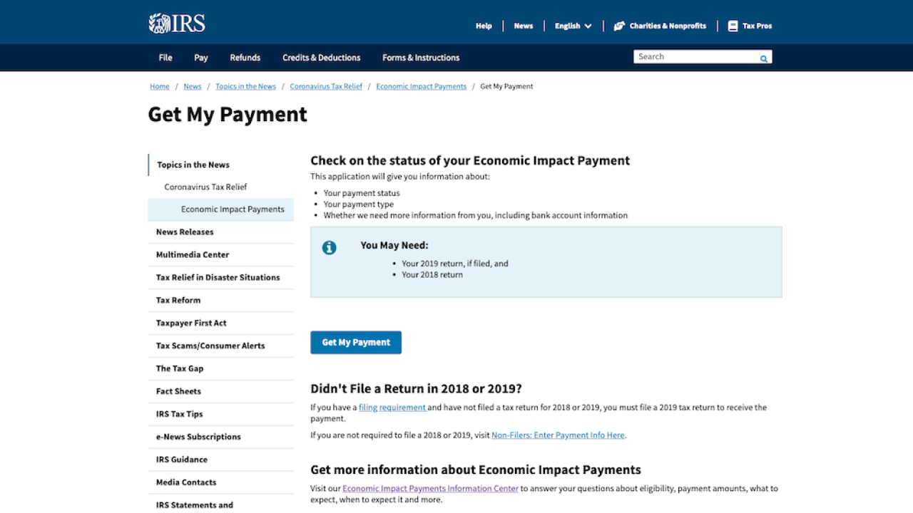 Irs Launches Website That Allows Americans To Track Their Irs Stimulus Check Tracking