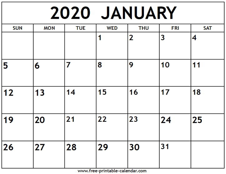 January 2020 Calendar - Free-Printable-Calendar Free Calendar To Edit And Save