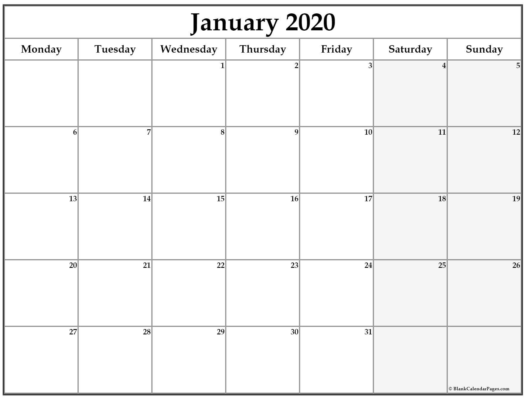 January 2020 Monday Calendar | Monday To Sunday Monday Thru Friday Calendsr