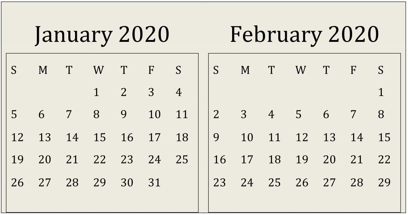 January February 2020 Calendar Print Online - Latest Fre Fill In Online Calendars