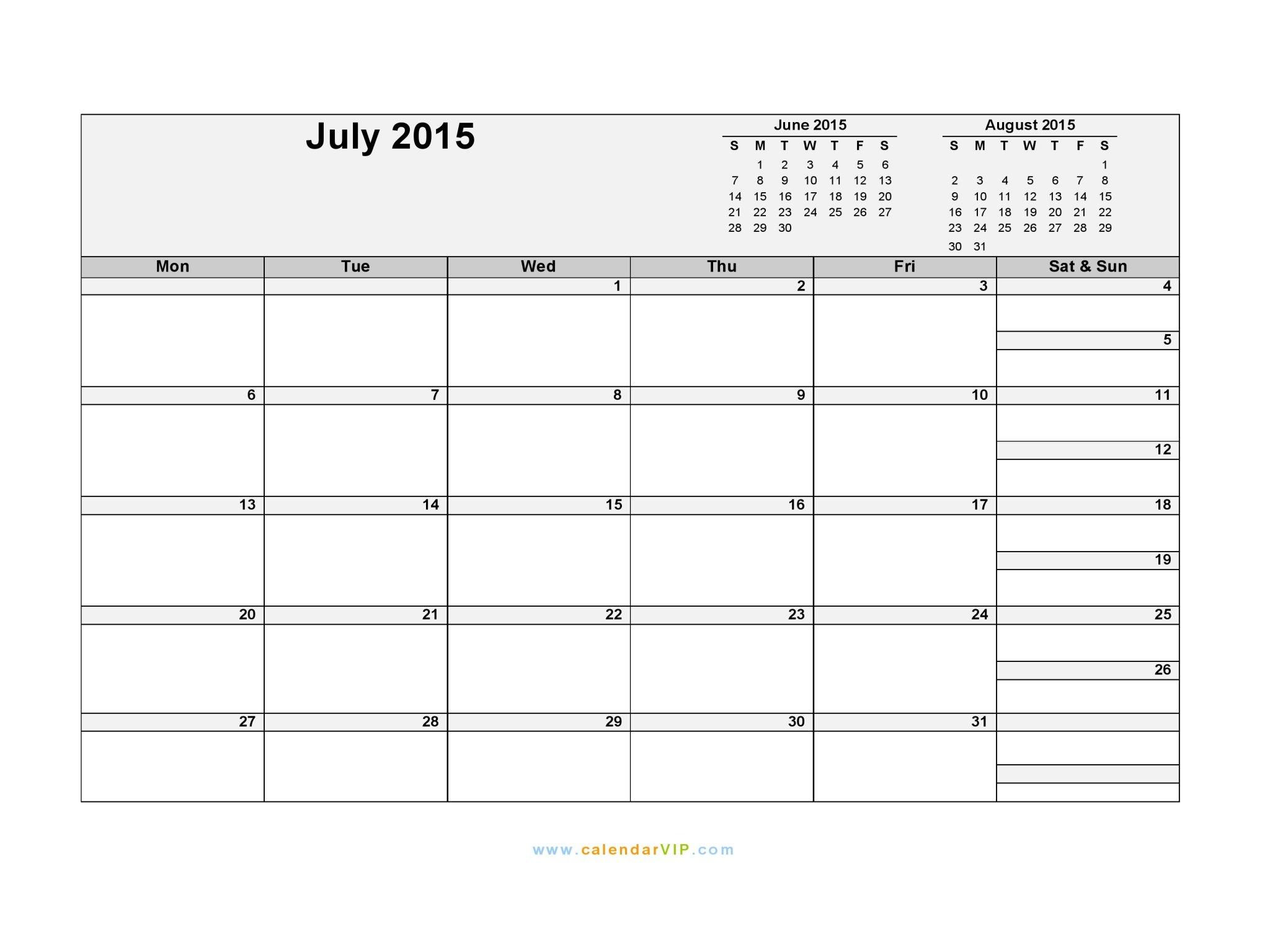 July 2015 Calendar - Blank Printable Calendar Template In Blank Diary 4 Weesk
