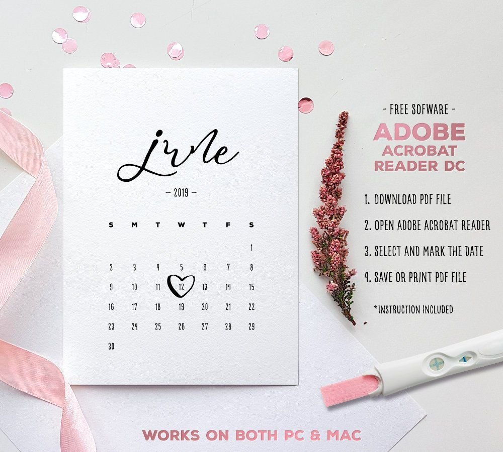 June 2019 Baby Due Date Calendar Template Editable | Etsy Free Baby Due Date Calendar